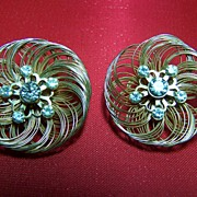 Vintage Wire Wrap Rhinestone Earrings