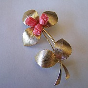 Vintage Flower Brooch with Coral Color Roses