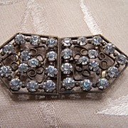 Vintage Rhinestone Brass Belt Slide Clip Duo Set