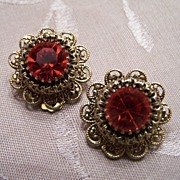 Vintage Orange Rhinestone Filigree Earrings