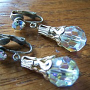 Vintage AB Crystal Bead Dangle Earrings