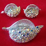 Vintage AB Rhinestone Set Of Brooch and Earrings