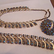 3 Piece Parure Signed Art  AB Rhinestone Set  Wow!