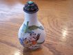 Vintage Porcelain Snuff Bottle With Sterling and Turquoise Top