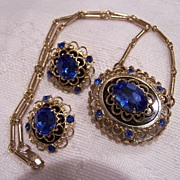 Signed Coro Blue Rhinestone Set Demi Necklace and Earrings