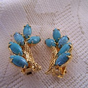 Vintage Signed Hobe' Turquoise Stone Earrings