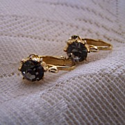 Vintage Smokey Rhinestone Earrings Signed