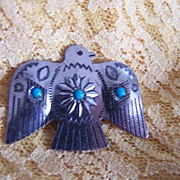 Vintage Metal Eagle Pin with Faux Turquoise