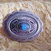Vintage Metal Brooch Pin with Faux Turquoise