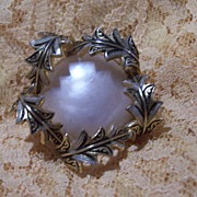 Vintage Damascene and Faux Pearl Brooch Pin