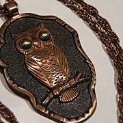 Vintage 1960's 1970's Solid Copper Owl Necklace