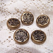 SALE Vintage Set Of 5 Brass Buttons