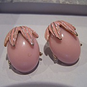 Vintage Pink Enameled Lucite Earrings