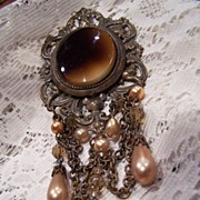 Vintage 1960's Brass Brooch With Beaded Dangles