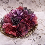 Vintage Layered Bouquet Of Flowers Brooch Pin