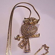 Vintage Clear Rhinestone Owl Pendant Necklace
