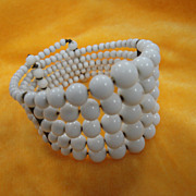 Vintage 5 Strand Beaded Glass Bracelet