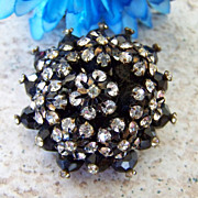 Vintage Layered Rhinestone Beaded Brooch
