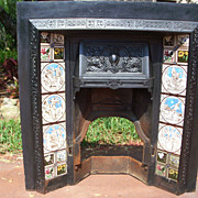 Antique Cast Iron Fireplace Insert with Minton Tiles by John Moyr Smith 19th C
