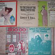 5 piece lot of Antique Sheet Music all Circa 1908