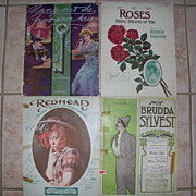 4 Piece lot Antique Sheet Music all dated 1908