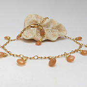 Peach Moonstone Ankle Bracelet with 10k Gold Filled Chain