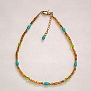Turquoise, Glass, Seed Bead and 14k Gold Filled Ankle Bracelet