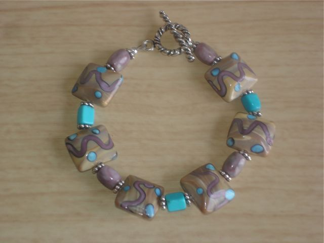Lampwork Glass, Turquoise, Jasper and Sterling Silver Beaded Bracelet