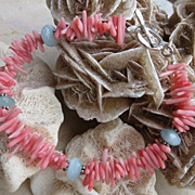 Coral, Amazonite and Sterling Silver Bracelet
