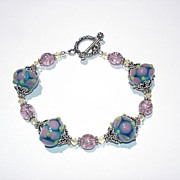 SALE Lampwork Glass, Swarovski Crystals, Crackle Glass and Sterling Silver Beaded Bracelet
