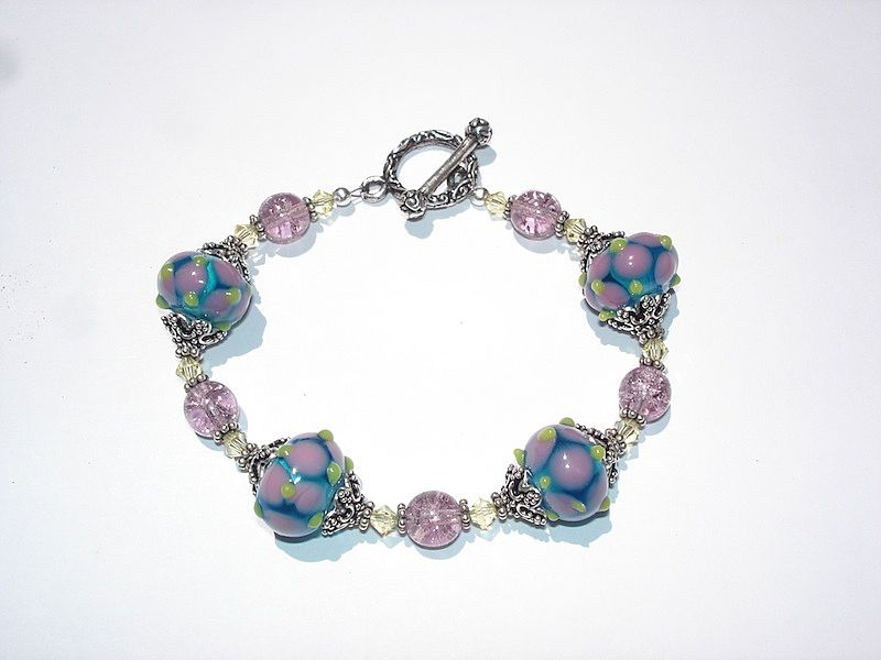 Lampwork Glass, Swarovski Crystals, Crackle Glass and Sterling Silver Beaded Bracelet
