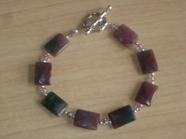 Fancy Jasper, Swarovski Crystal and Sterling Silver Bracelet