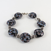 Lampwork Glass Bracelet with Sterling Silver