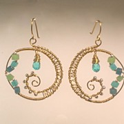 Blue Quartz, Crystal, Sterling Silver and Brass Hoop Earrings