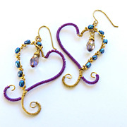 Wire Wrapped Heart Earrings with Fresh Water Pearls and Briolette Crystals
