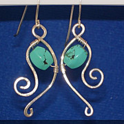 Artisan Wire Wrapped Earrings with Turquoise and Sterling Silver