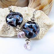Lampwork Glass Earrings with Crystals and Sterling Silver