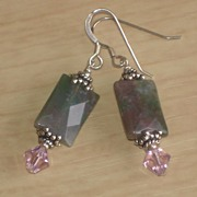SALE Fancy Jasper, Swarovski Crystal and Sterling Silver Earrings