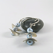 Pearl Earrings of Light Blue Fresh Water Pearls