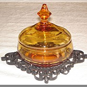SALE Amber Glass Compote with Metal Stand