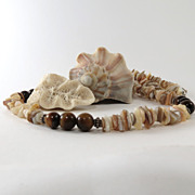 Men's Beaded Necklace of Tiger Eye, Shell and Sterling Silver