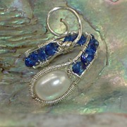 Wire Wrapped Ring of Pearl and Sapphire Crystals