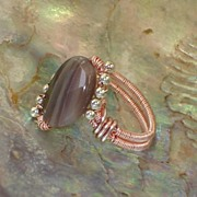 SALE Wire Wrapped Ring of Botswana Agate and Sterling Silver