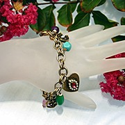 Vintage Charm Bracelet, Gold tone, Heart and Luck Charms, Art Glass Beads
