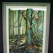 Edward J. Thias Watercolor, Trees and Forest