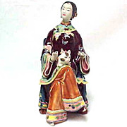 REDUCED Beautiful Chinese Mud Woman with Cat, Signed