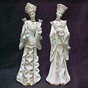 REDUCED Pair Lefton Porcelain Lady Figurines