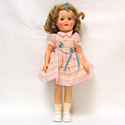 "15"" Vinyl Shirley Temple Sleeper Doll in Pink Organza Dress"