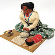 SALE Navajo Arts and Crafts, Mother Grinding Meal, Signed
