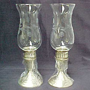 SALE Pair Towle Sterling Silver Base Hurricane Candle Holders